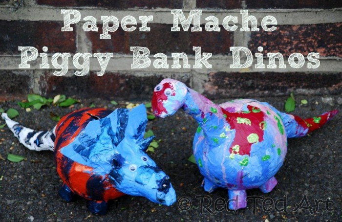 Kids Crafts: Paper Mache Dino Bank