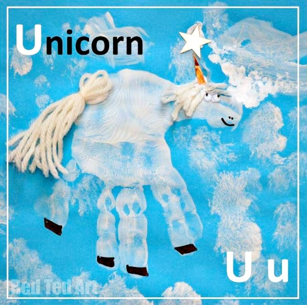 Handprint Unicorn craft for Preschool. Exploring the Animal Alphabet with Handprint Crafts. U is for unicorn #preschool #unicorns #handprints #alphabet #forkids