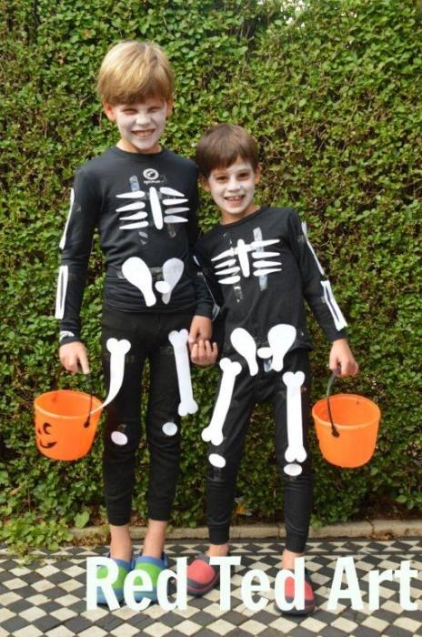 picture regarding Skeleton Costume Template Printable named Remaining Instant Halloween Costumes - Paper Skeleton