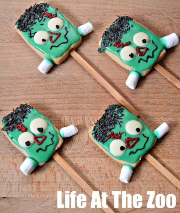 halloween cookies frankenstein cookie pops