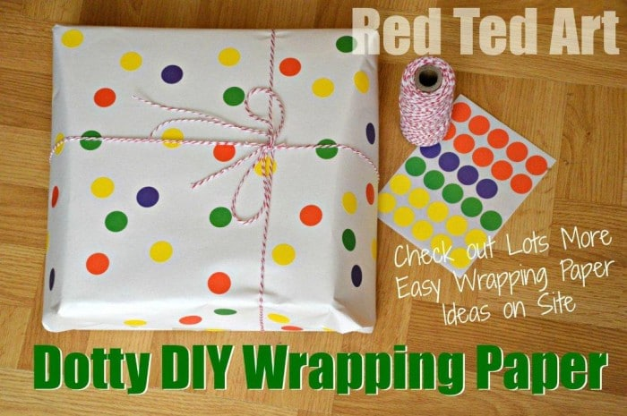 Diy Wrapping Paper Dots With Office Stickers
