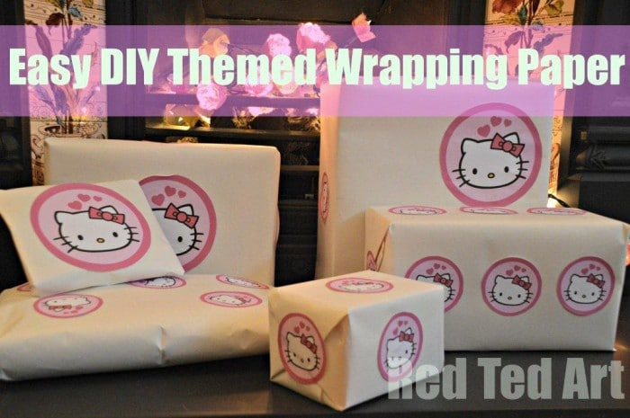 "Create your own range of ""Themed"" Wrapping Paper – like this Hello Kitty paper. Super easy to do and a great way to customise your wrapping… via www.redtedart.com"