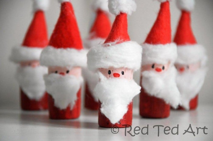 Cute little Santa ornaments – quick and fun to make. But will you make them into Tree Ornaments.. or let the kids loose on some Santa Bowling?!?! via www.redtedart.com