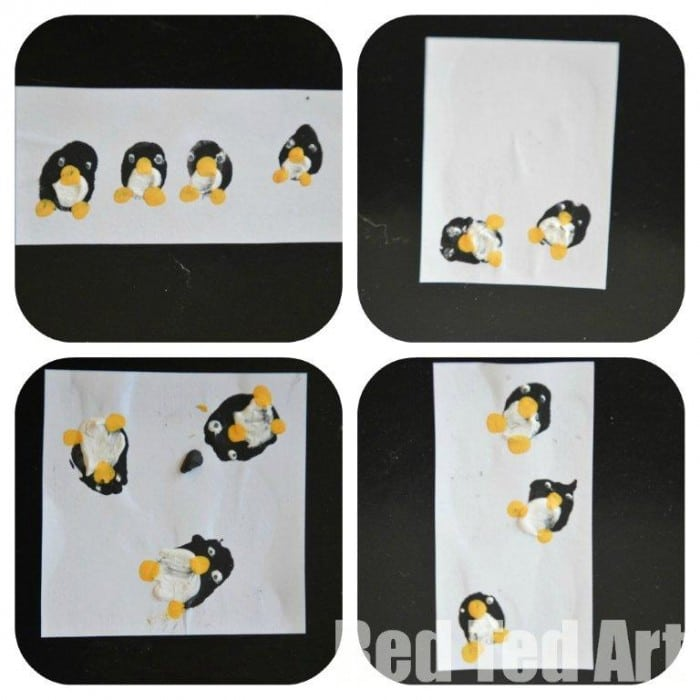 Kids crafts penguin finger print cards thank you cards for Penguin christmas cards homemade