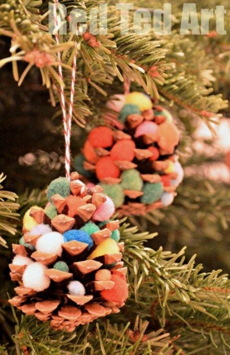 Pom Pom Pincecone Trees - Ideal for Preschoolers, tactile and colourful.