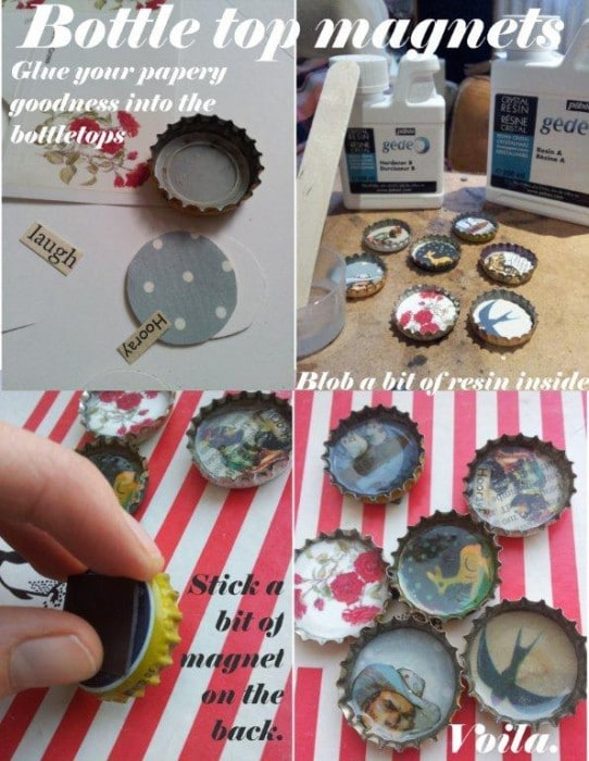 Bottle top magnets