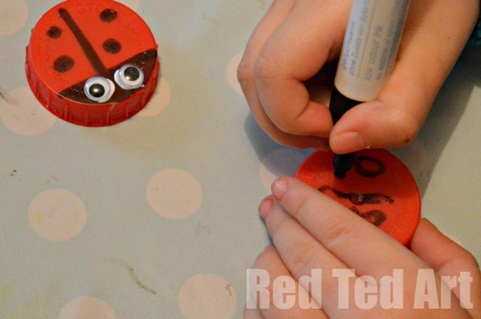 "Bottle Top Crafts - ""classic"" lady bugs and aliens. We played with some, turned others into greeting cards and fridge magnets!"