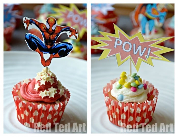 photograph about Free Printable Cupcake Wrappers and Toppers With Spiderman identified as Superhero Cupcake Toppers - Totally free Printables