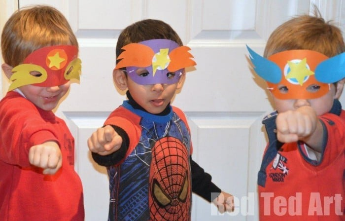 Superhero masks party craft (with templates)