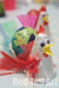 Egg Carton Hens for Easter