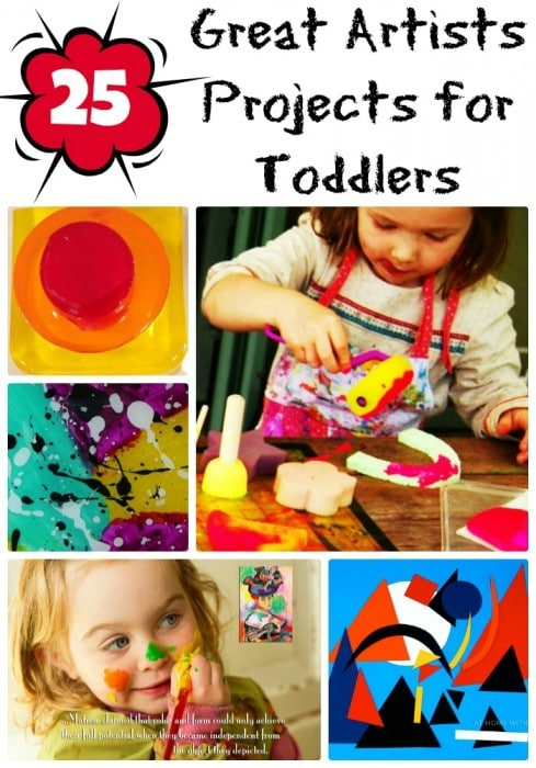 25 Great Artist Projects for Toddlers to have a go at. Love these Art Projects for Toddlers and Preschool. Hands on messy fun! #ece #prek #teachers #greatartists #art