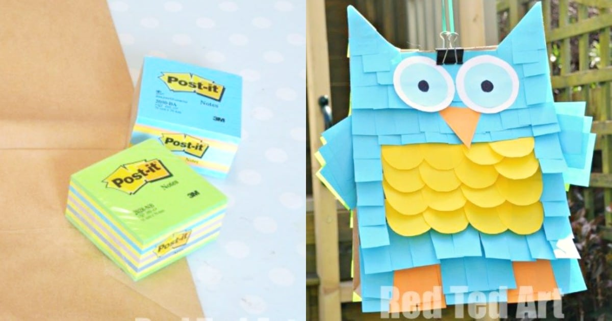 Easy Pinata - Paper bags and Post-Its - Red Ted Art