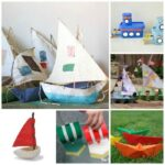 collage of homemade boats