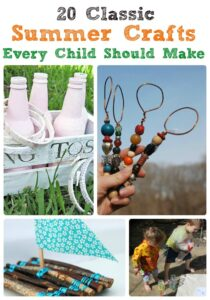 Collage of summer crafts for kids