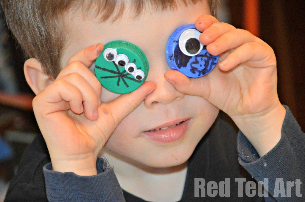 Bottle Top Crafts for Boys – Aliens