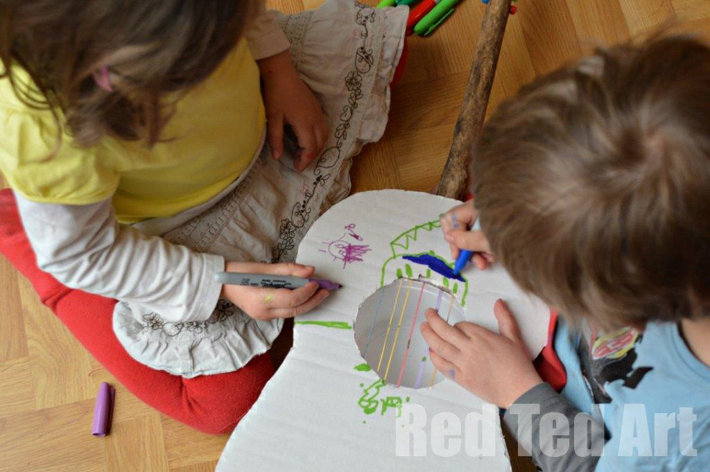 How To Make A Guitar With Kids Red Ted Art