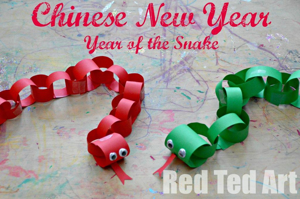 chinese new year crafts for kids year of the snake red