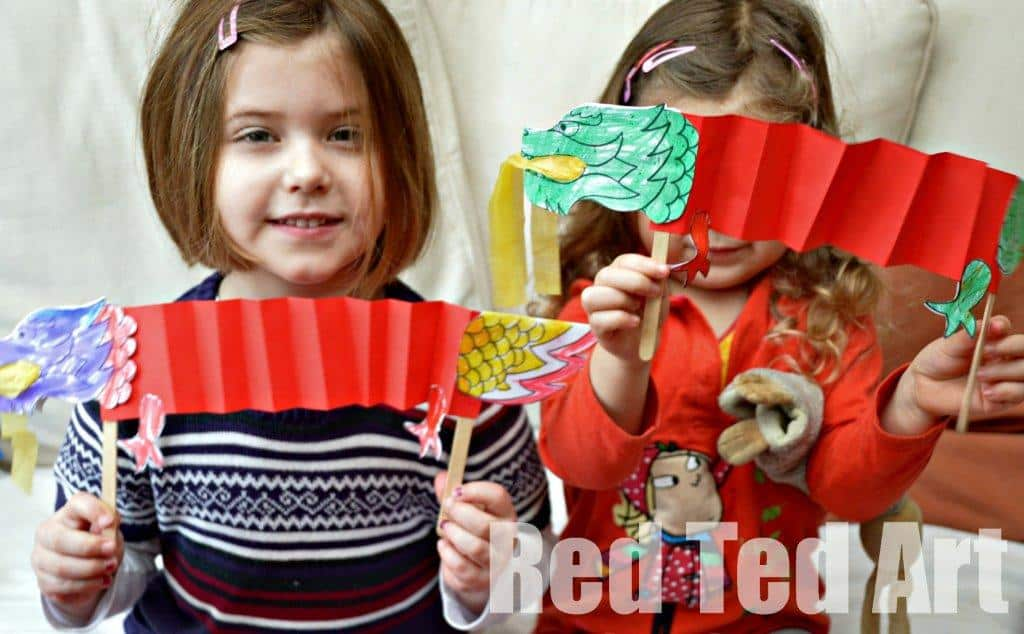 chinese new year craft dragon puppet printable - Chinese New Year For Kids