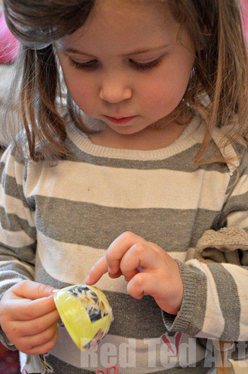 Decoupage plastic eggs