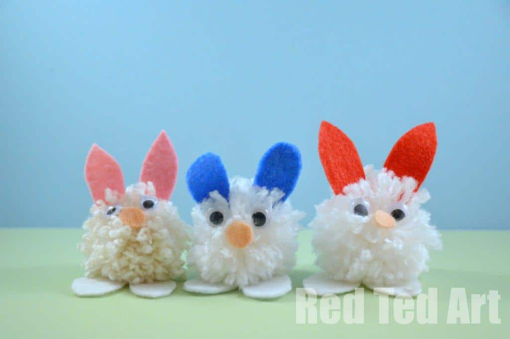 20 cute bunny crafts for kids red ted art 39 s blog for Crafts to make with pom poms