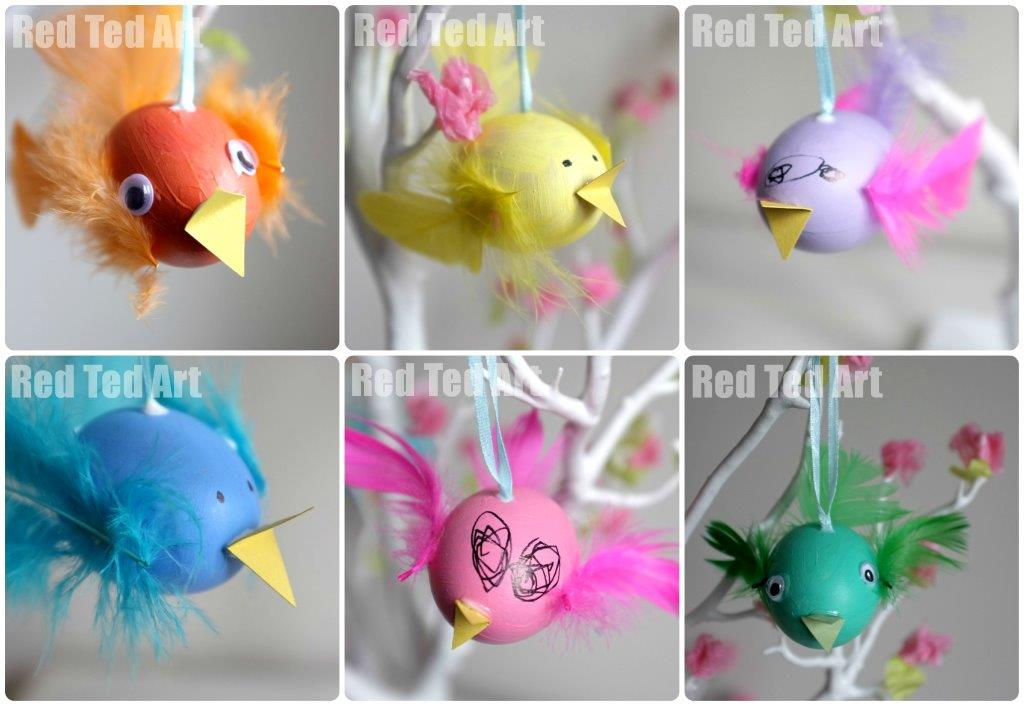 Egg decorating feathered birds