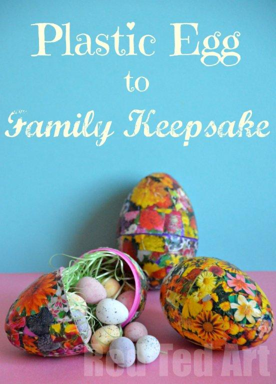Plastic Egg Crafts - turn oridinary plastic eggs into wonderful decoupage Easter Eggs with the kids. A great introduction to this traditional craft. We upcycled a flower brochure to make these!