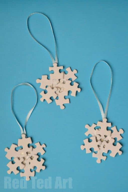 Puzzle Craft Ideas – Snowflake Ornament