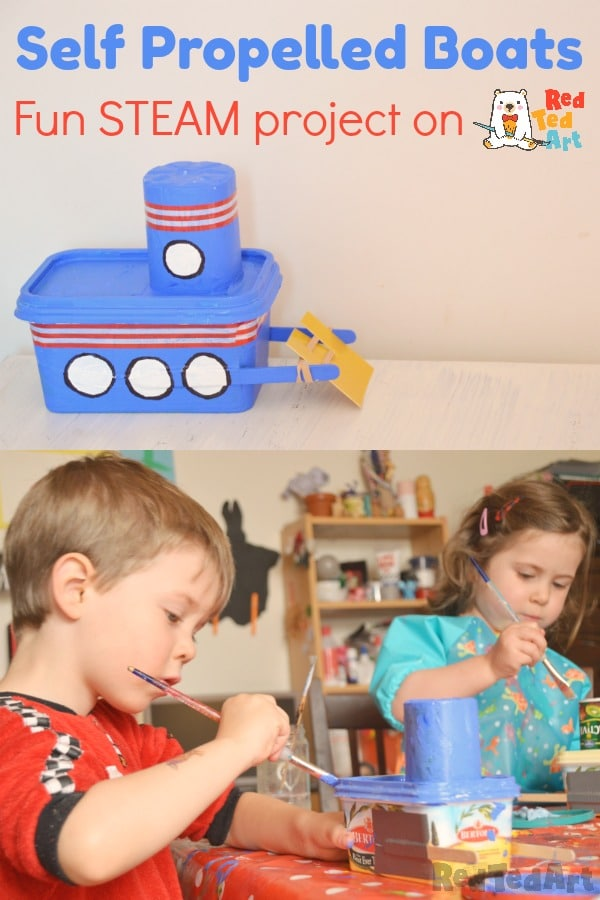 Collage of self propelled boat craft for kids, showing young kids at work