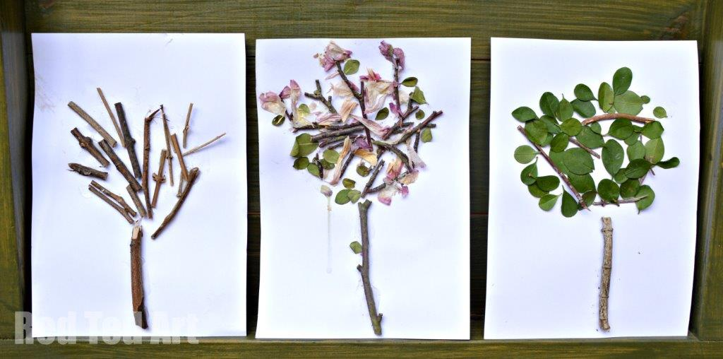 Four Seasons - Winter Spring Summer. Nature crafts for toddlers this Summer! A great Summer Four Seasons Tree Arts and Crafts project for Preschool exploring the four seasons. Love this nature art project. So easy and fun #nature #seasons #summer #trees #preschoolers