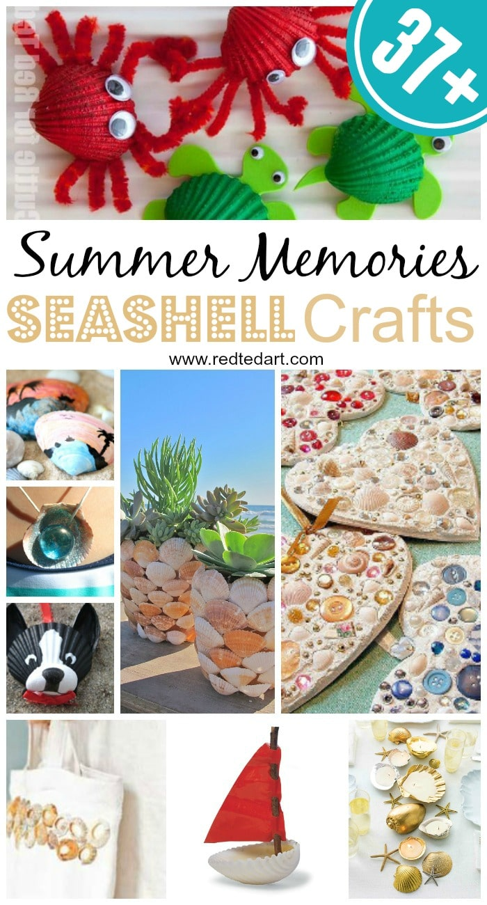 Seashell Craft Ideas - over 37+ ideas to keep you Summer Crafts Happy. Love all these shell crafts for kids and grown ups.. a wonderful way to create the best summer keepsakes! #shells #summer #summercrafts #crafts #seashells #beach #projects