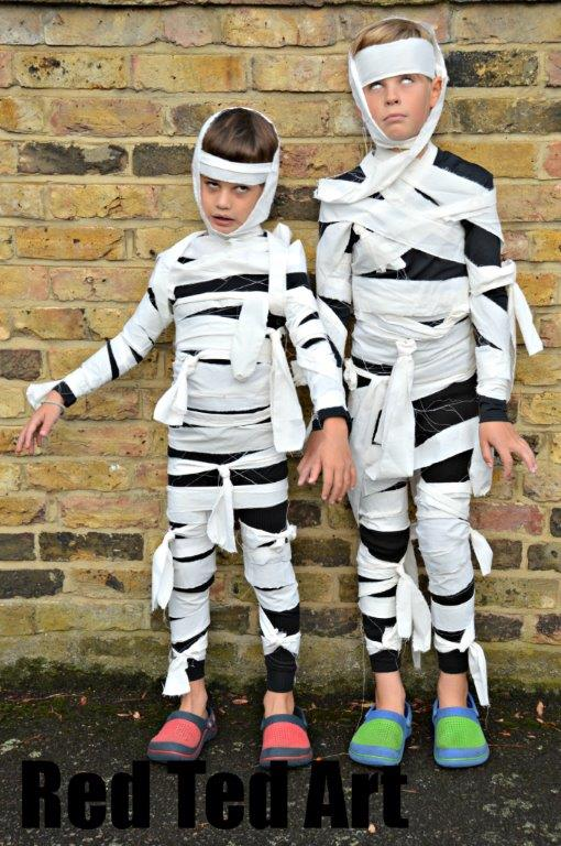 Halloween costumes kids can make mummies red ted arts blog easy halloween costumes solutioingenieria Choice Image
