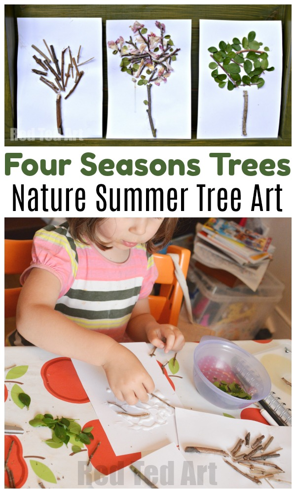 Nature crafts for toddlers this Summer! A great Summer Four Seasons Tree Arts and Crafts project for Preschool exploring the four seasons. Love this nature art project. So easy and fun #nature #seasons #summer #trees #preschoolers