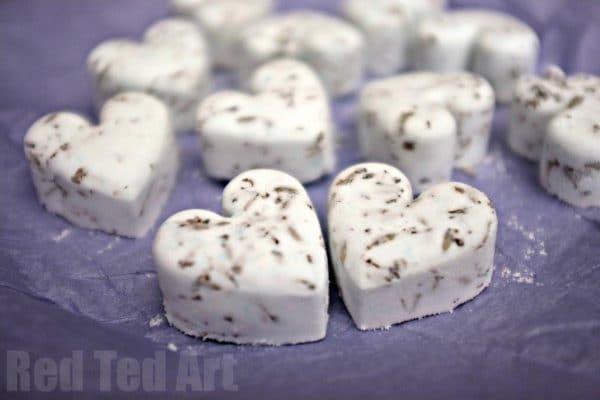 Heart shaped lavendar bath bombs
