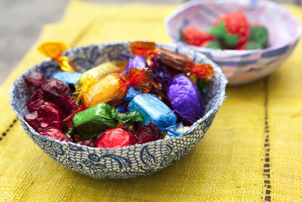 Fabric mache bowl - perfect as an Easter Basket Crafts Ideas too!