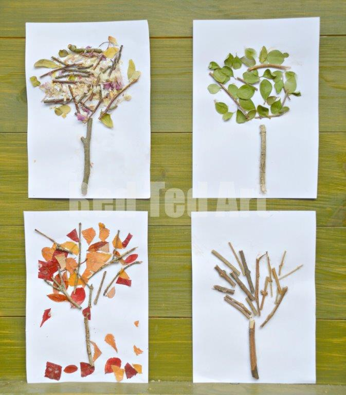 Four Seasons Nature Crafts - exploring the four seasons through nature. Create these seasonal trees made from nature finds. Just a wonderful way to connect with nature! #nature #fourseasons #art