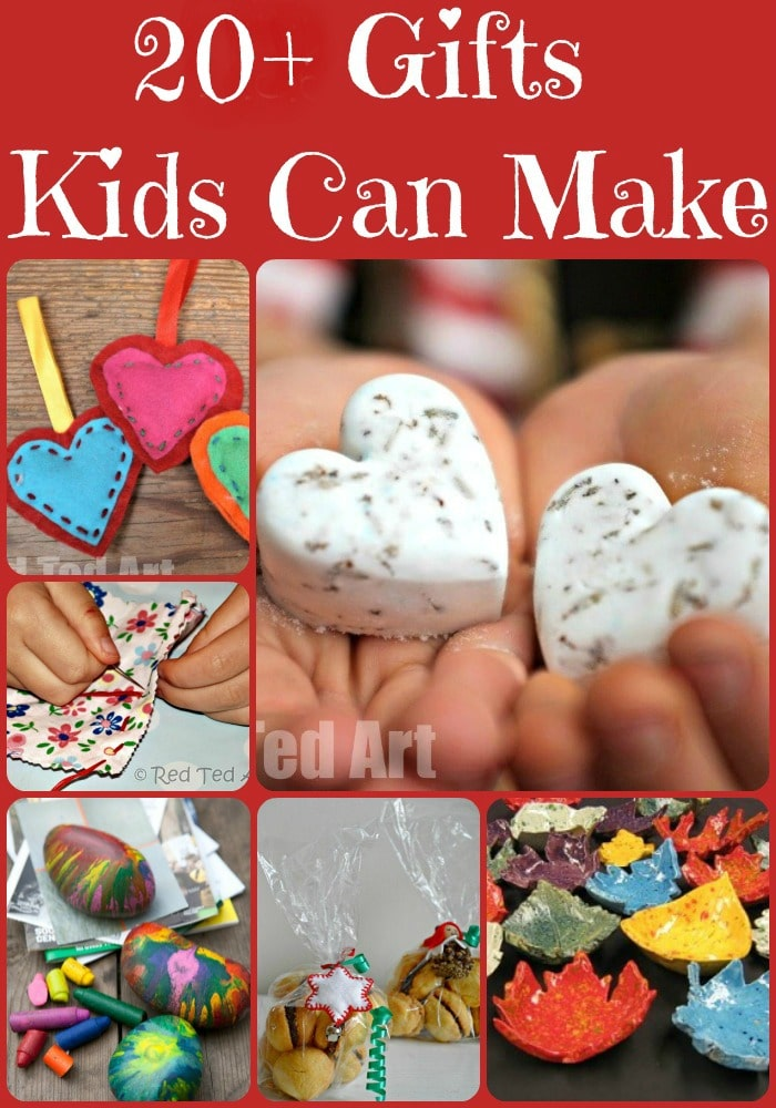 "Gifts Kids Can Make - over 20 Gift ideas for kids. Nothing quite like a HOMEMADE gift at Christmas. Love these ideas. And they are all ""do-able"" and realistic and yet special gifts for kids to make for a loved one!"