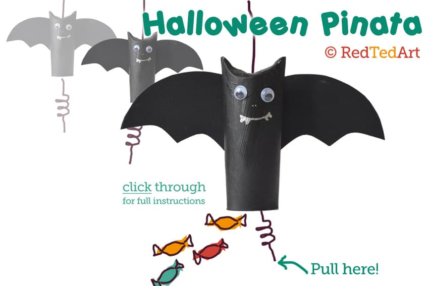 Halloween Pinata - this is such a cute and simple idea. Turn a TP roll into a TP Roll Bat pinata!! Super fun and thrifty!