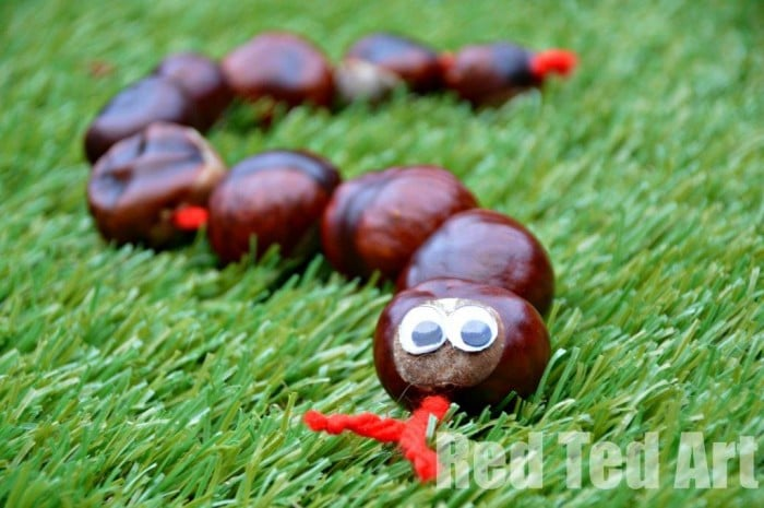 One of my favourite Conker Crafts (Buckeye's in the US) - Conker Snakes - they are fun to make, great for fine motor threading skills, can be played with or used for counting 1-10.. as well as practicing Number Bonds #Chestnuts #preschool #maths #ece #naturecrafts #counting