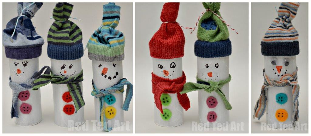 Snowman crafts for preschoolers. Oh these guys crack me up - a fun game of Snowman Bowling (add numbers to the backs and you can incorporate some counting and adding practice) made from old socks and tp rolls! Just brilliant. #snowman #snowmancraft #snowmen #tprollsnowamn #snowmangames #snowday