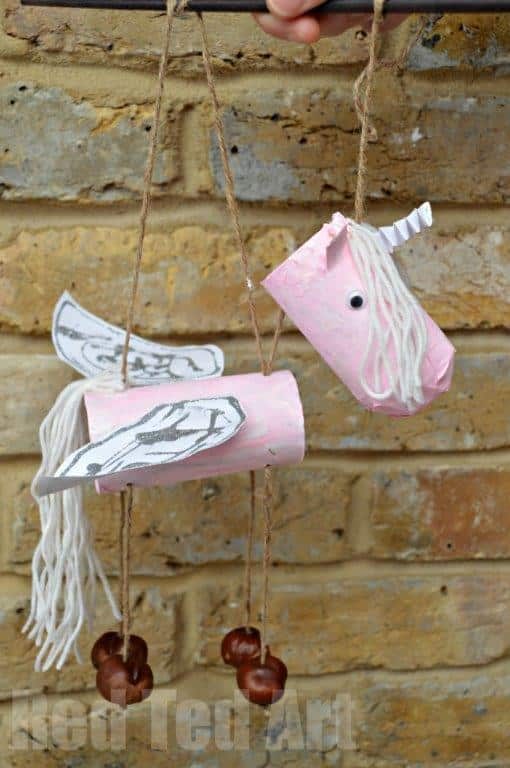 Toilet Paper Rolls Unicorn Marionette or Puppets - How to make a unicorn with a TP Roll! A magical upcycled craft for kids!
