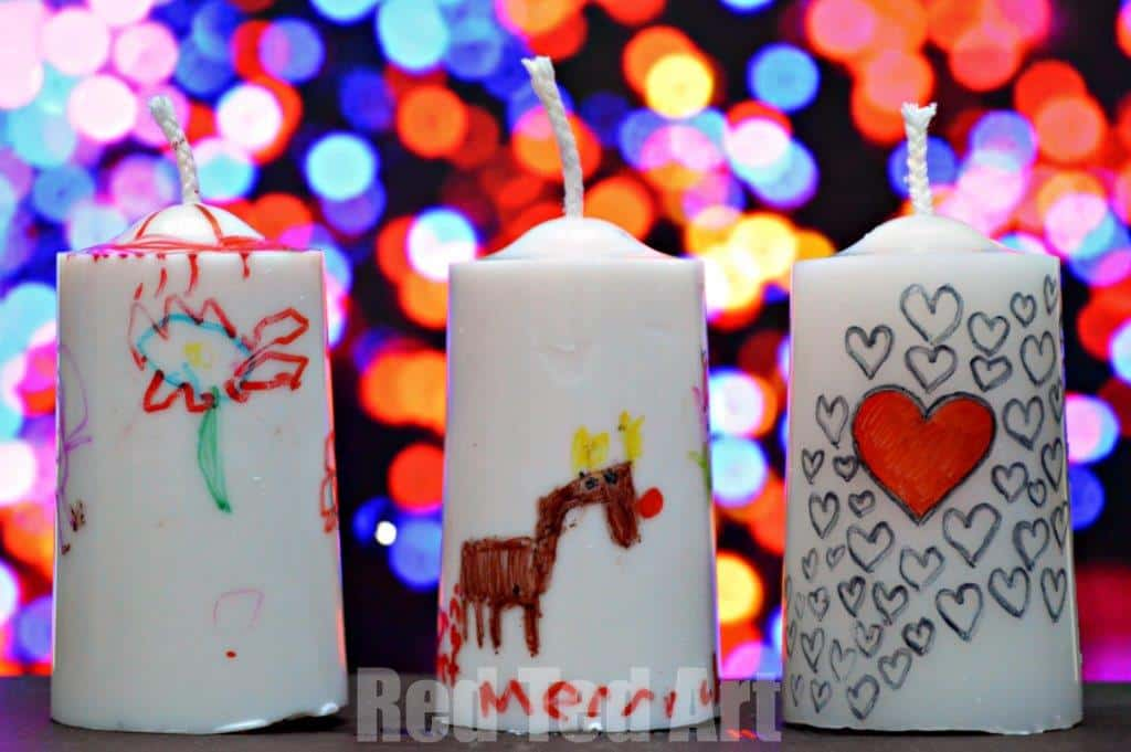Gift ideas for Kids - super easy and thrifty upcycled candles and decorated by the kids. These make AWESOME practical teacher's presents too!