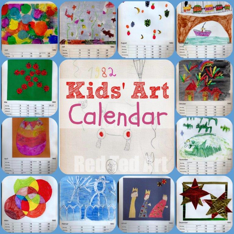 Kids Art Calendar - Gifts That Kids Can Make - Calling all Primary School Teachers: My mother scanned and sent me THIS from the 80s.... throughout the year our teacher worked with us on monthly themes... she saved all our work and around Christmas time the following year, she helped us stick all our work together for a calendar to use the next year. I am amazed and yet not THAT amazed that 34 years later my mother still has it!!!! I was 6 at the time, but still remember making (parts) of it!