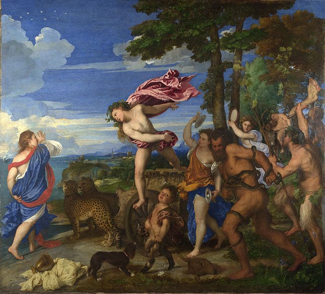 Titian – Bacchus and Ariadne – oil on canvas on board