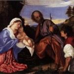 Titian The Holy Family with a Shepherd 1510