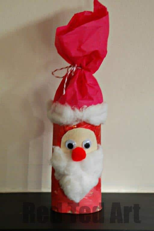 Toilet Roll Santa Craft. 12 Christmas TP Roll Crafts. We love Christmas and these Toilet Paper Roll Christmas Crafts for Kids are ADORABLE!! #TPRolls #Christmas #recycledchristmas #christmasforkids