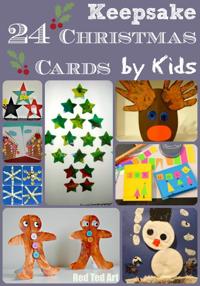 Collage of Christmas Card ideas for kids!