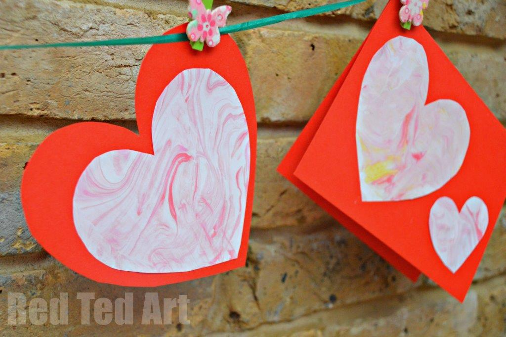 Easy Valentine's Cards for Kids - marbled paper