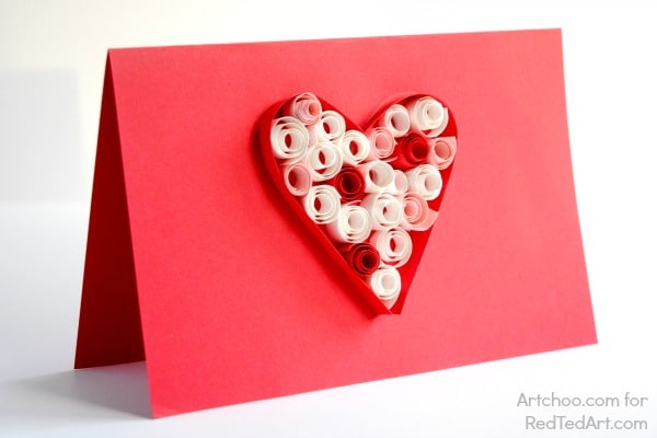 Valentines Cards Paper Quilling for Kids Red Ted Arts Blog – Valentines Cards from Kids