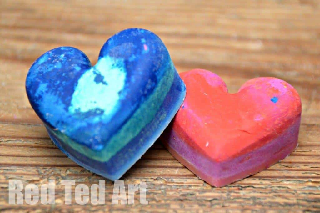 Try these quick and easy Recycled Crayons Valentines Gift. A handmade Valentines gift for kids to make. Non Candy Valentines Gifts.