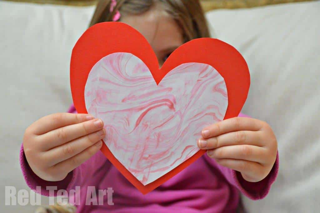 Valentines Cards For Kids: Shaving Foam Marbling